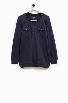 Smart Basic solid colour cotton T-shirt, Blue, hi-res
