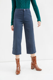 High-waisted stretch cropped trousers, Navy Blue, hi-res