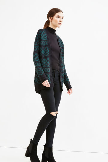 Patterned knitted cardigan, Black/Green, hi-res