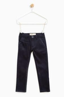Pantaloni chino stretch tinta unita, Blu, hi-res