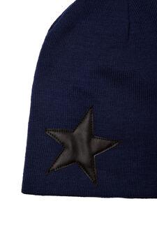 Plain beanie hat, Navy Blue, hi-res