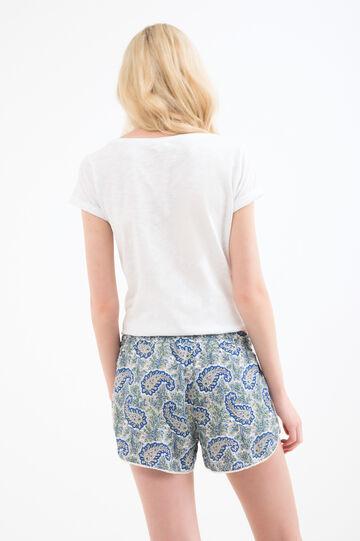 Cotton and viscose shorts with paisley print, Blue, hi-res