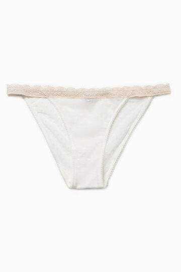 Tanga briefs with speckled weave and trim, White/Beige, hi-res