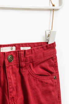 Solid colour 100% cotton trousers, Red, hi-res