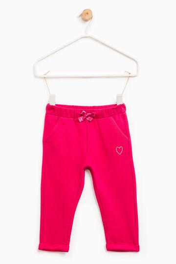 Pantaloni tuta in cotone con strass, Rosa fuxia, hi-res