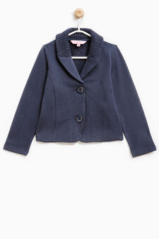 Stretch cotton blazer with lapels, Navy Blue, hi-res