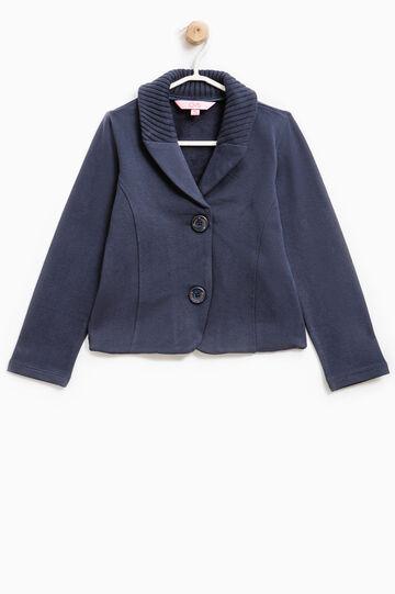 Stretch cotton blazer with lapels, Navy Blue, hi-res