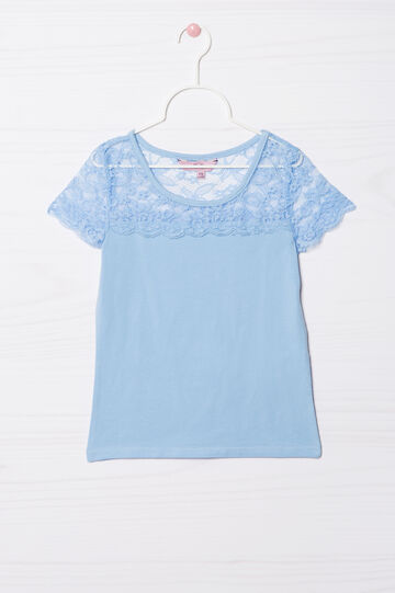 Stretch cotton T-shirt with lace insert, Light Blue, hi-res
