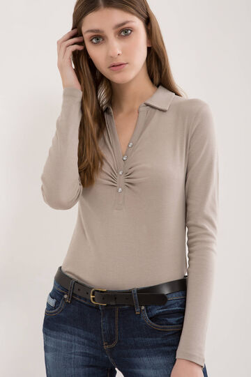 V-neck polo shirt in 100% cotton, Beige, hi-res