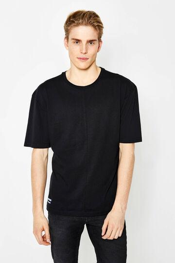 Cotton T-shirt with side print, Black, hi-res