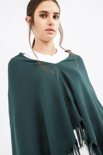 Poncho cotone tinta unita con frange, Verde, hi-res