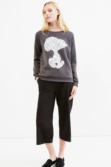 Sweatshirt with Snoopy patch in lace, Dark Grey, hi-res