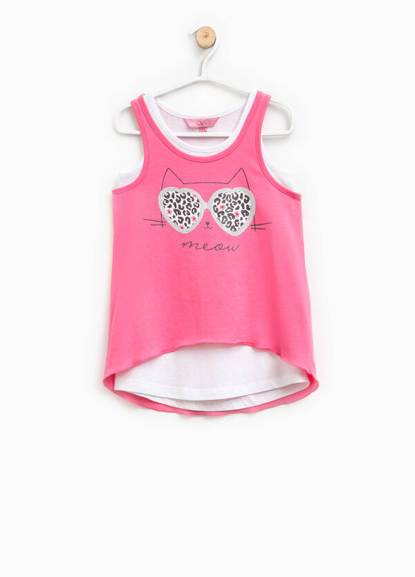 Two-pack tops with glitter print | OVS