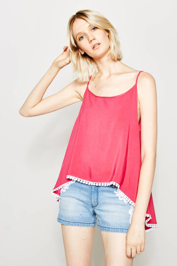 Top with round neck and split