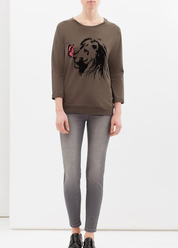 Cotton blend sweatshirt with print | OVS