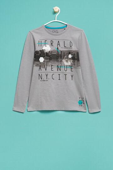 T-shirt cotone con maxi stampa, Grigio, hi-res