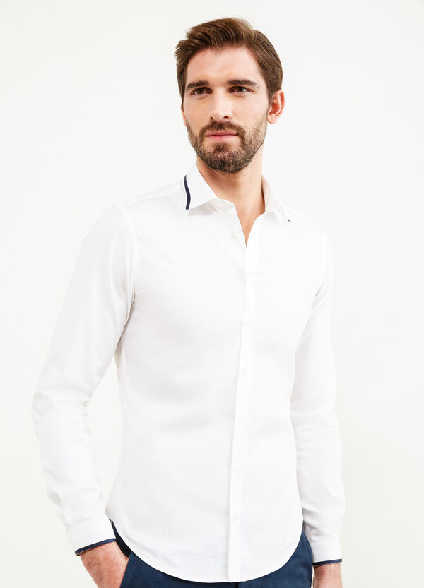 Custom-fit formal shirt with ribbing | OVS