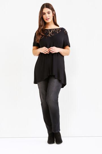 Curvy worn-effect stretch jeans, Black, hi-res