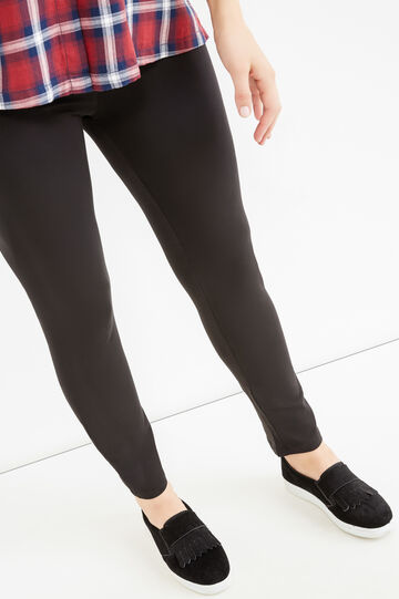 Curvy solid colour stretch cotton leggings, Black, hi-res