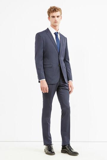 Traje elegante regular fit de rayas, Azul, hi-res
