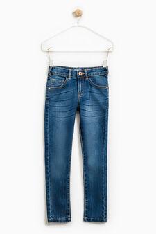 Worn-effect skinny-fit stretch jeans, Blue, hi-res