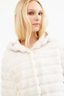 Solid colour faux fur jacket, Sand, hi-res