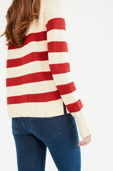 Striped pullover with high neck, White/Red, hi-res