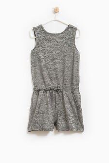 Stretch playsuit with drawstring, Grey Marl, hi-res