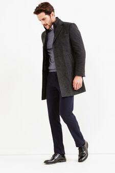 Regular-fit coat with lapel collar, Slate Grey, hi-res
