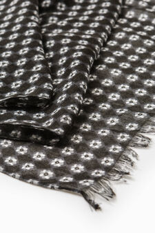 Scarf with fringed edges and flower pattern, Black, hi-res