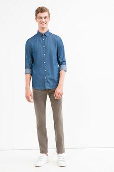 Slim fit, stretch cotton trousers, Concrete Grey, hi-res