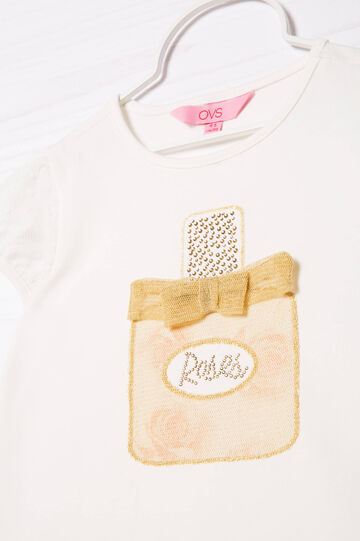 T-shirt stretch con strass, Bianco latte, hi-res