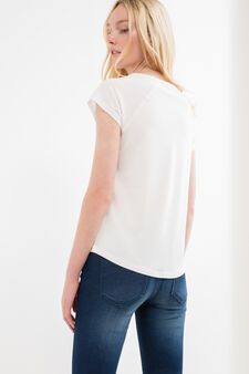 100% cotton T-shirt with rounded hem, White, hi-res