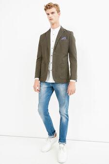 Elegant stretch cotton jacket with lapels, Green, hi-res