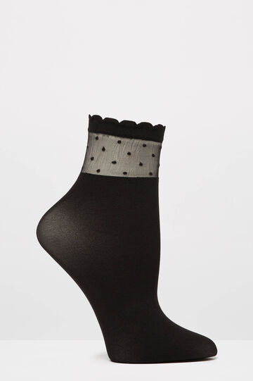 Solid colour short stretch pop socks, Black, hi-res