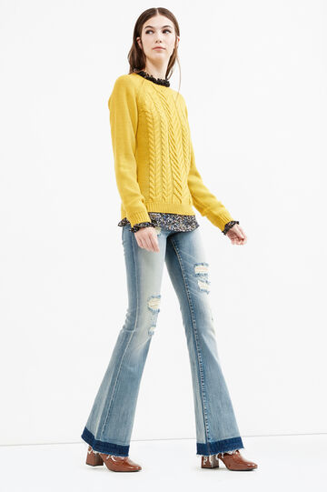 Solid colour cable knit pullover, Ochre Yellow, hi-res