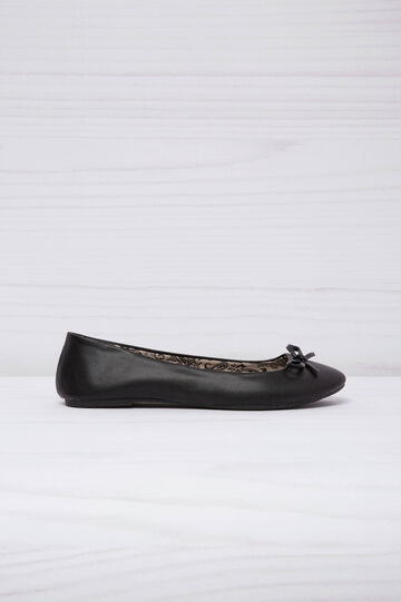 Leather look ballerina flats with patterned inner, Black, hi-res