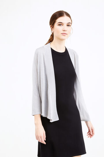 Viscose blend cardigan with lurex, Grey, hi-res