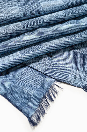 Viscose check scarf, Sky Blue, hi-res