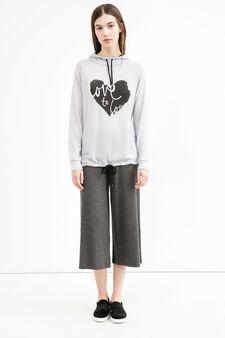 Stretch sweatshirt with hood and drawstring, Grey, hi-res
