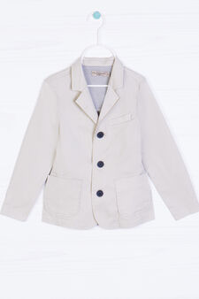 100% cotton jacket with buttons, Beige, hi-res