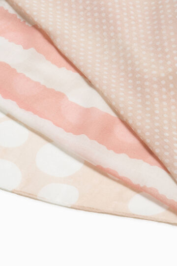 Two-tone scarf with pattern, White/Pink, hi-res