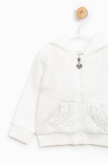 Fur and diamanté sweatshirt, Milky White, hi-res