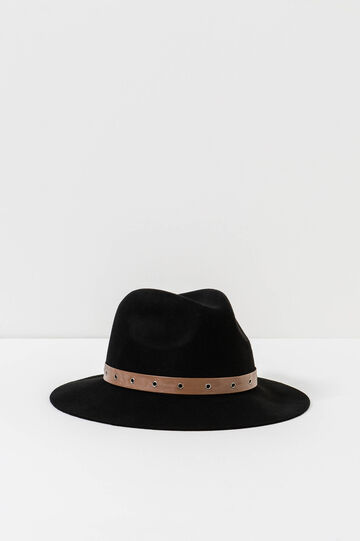 Solid colour wool hat, Black, hi-res