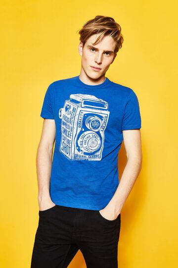 Printed T-shirt in 100% cotton, Royal Blue, hi-res