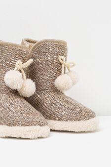 Pantofole stivaletti con paillettes, Giallo oro, hi-res