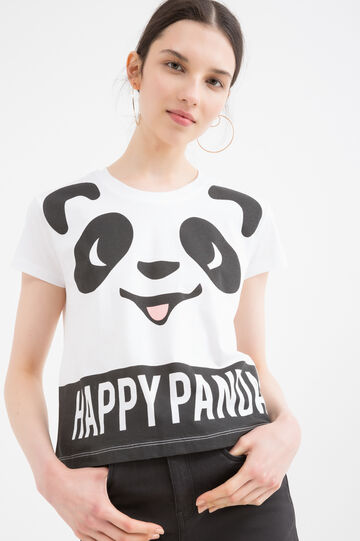 100% cotton T-shirt with panda print, White, hi-res