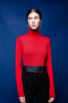 Solid colour viscose blend turtleneck jumper, Red, hi-res