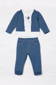 T-shirt and denim baby leggings oufit, Denim, hi-res