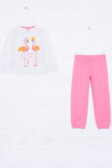 Printed pyjamas in cotton, White/Pink, hi-res